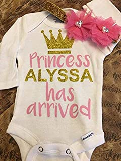 The princess has arrived - baby bodysuit - newborn headband - take home outfit - come home outfit - custom bodysuit - princess has arrived outfit - newborn girl