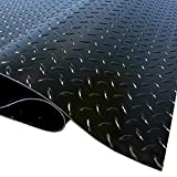 IncStores Standard Grade Nitro Garage Roll Out Floor Protecting Parking Mats (7.5' x 17', Diamond Midnight Black)