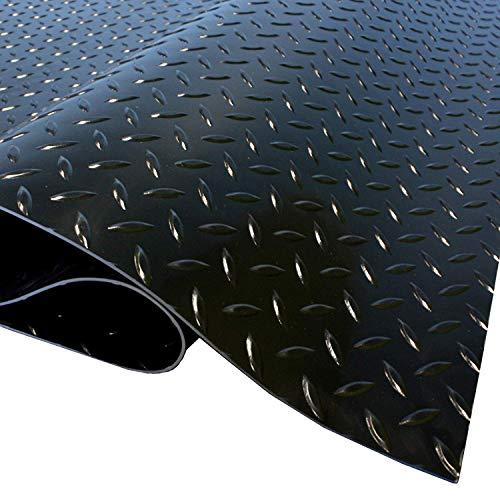 IncStores 1.6mm Thick Standard-Grade Nitro Roll Garage Floor Mat | Flexible Vinyl Floor Mat for a Stronger and Safer Garage, Workshop, or Trailer | Diamond-Plate, Midnight Black, 7.5' x 17'