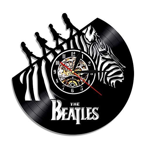 BFMBCHDJ Sänger Beatles Schallplattenuhr Retro Nostalgic Home Decoration Wand Wanduhr A21 Keine LED 12 Zoll