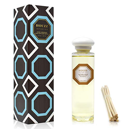 HOUZZ Interior Autumn Lodge Diffuser Refill Oil and Reed Sticks - A Woodsy Fall Scent of Cinnamon Sticks, Nutmeg and Clove Layered with Apple, Cedar and Sandalwood - 4 Ounces