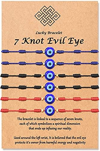 LLGLTEC (Ver.3) Pulseras de la suerte con 7 nudos, amuleto de cuerda roja ajustable para mujeres, hombres, niñas y niños pequeños,
