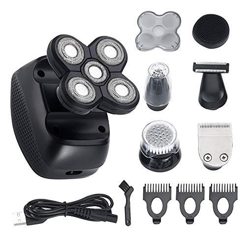afeitadora barba hombre, recargable, 5 en 1 para la cabeza y la cara, maquinilla de afeitar eléctrica, 4D, flotante, 5 cabezales, inalámbrico, kit de aseo con impermeable IPX7