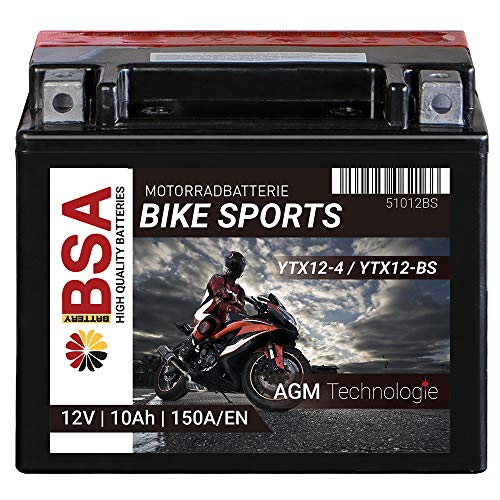 BSA Motorradbatterie Roller Batterie 10AH 150A/EN 12V AGM YTX12-BS Erstausrüsterqualität trocken vorgeladen inkl. Säurepack total wartungsfreie Starterbatterie