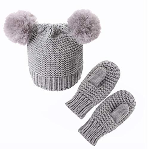 SUSHUN Niños Niñas Niños Guantes Bebé Invierno Cálido Crochet Gorro de Punto Gorro + Manoplas Conjunto Gris # como Muestra la Imagen