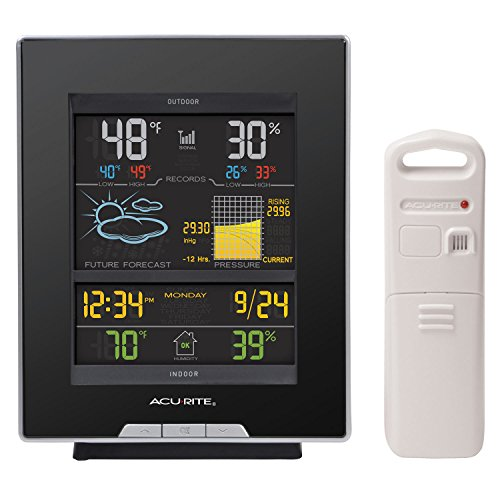 AcuRite 02008A1 Color Weather Station with Forecast, Temperature, Humidity, Barometric Pressure, Intelli-Time Clock-Full Color, Dark Theme