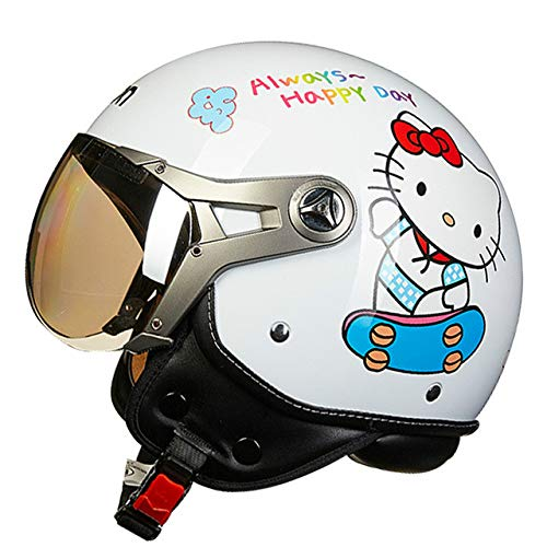 MYSdd Motorradhelm Retro Herren und Damen Damen Motorradhalbhelm Vier Jahreszeiten universal Winddicht warm Abnehmbarer Gehörschutz - 6 X XL