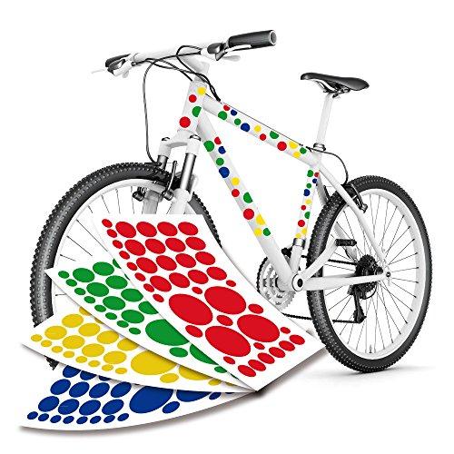 style4Bike Blasen Punkte Aufkleber Set für Fahrrad Fahrradaufkleber XXL Set mit 4 Farben   S4B0123