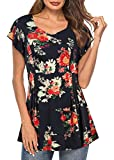 BEPEI Floral Tops for Women,Ruffled Petal Sleeve V Neckline Semi-Loose Tunic Relaxed Fit Elastic Travel Bohemian Slim Blouse Polyester Spandex Simple Design Popular Cinched Waist Shirt Black Red M
