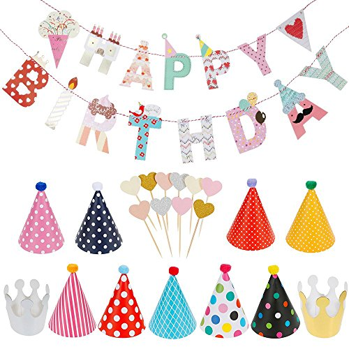 Lictin Birthday Party Decorations Favors, Happy Birthday Banner with 10 Pink Heart-shaped Cake Inserted Card,9 Hats ,2 Crowns and 1 Rope, Happy Birthday Banner Kit Birthday Crowns Birthday Hats R