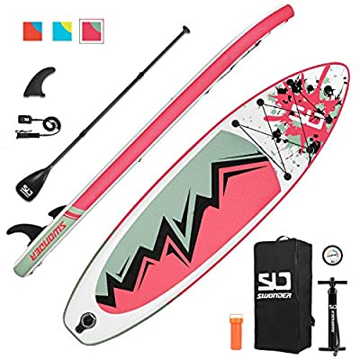 """Swonder Inflatable Stand Up Paddle Board, 32"""" Wide Ultra Steady and Super Light-Weigh (17.2lbs) Board, Full Premium SUP Accessories- Adjustable Paddle, Backpack, Leash, and Pump for Youth & Adult"""
