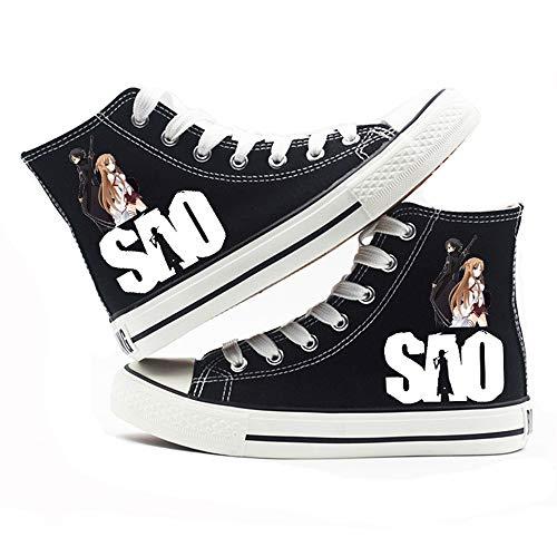 MOANKE Zapatos De Lona para Mujer Zapatos De Mujer Zapatos Casuales De Encaje Retro Blanco Negro Zapatos De Lona con Punta De Goma Blanco Negro SAOSwordArtOnline Black 43