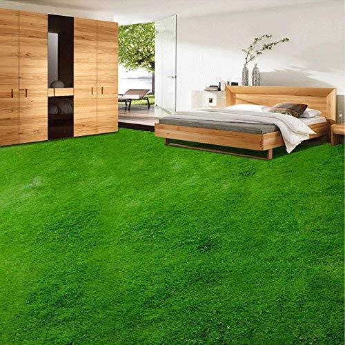Papel pintado de murales de piso simple Papel tapiz mural de piso personalizado 3D Decoración del hogar Césped verde 3D Sala de estar Dormitorio Etiqueta de piso Pvc Autoadhesivo Papel tapiz imperme