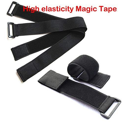 5 piezas de cintas mágicas de banda altamente elástica para cables, bridas, modelo correas de alambre elástico con hebilla de cinturón 5 piezas negras de 50 x 400 mm.