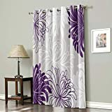 BABE MAPS Thermal Insulated Grommet Blackout Curtains for Bedroom 63 Length Window Treatment Home Decor Curtains for Living Room, Floral Window Drapes 1 Panel- Chrysanthemum Flower Purple Grey White