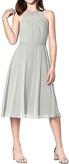 Cdress Vestido Corto de Dama de Honor, de Gasa, para Baile de graduación, Boda, Fiesta, Formal, Talla pequeña