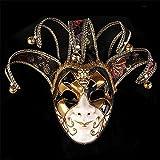 TTXLY Masque de Clown Peint fête d'halloween Masques Haut de Gamme bouffon vénitien Joker Masque Mascarade Peint à la Main Murale Collection d'art décoratif Mardi Gras Partie,Black