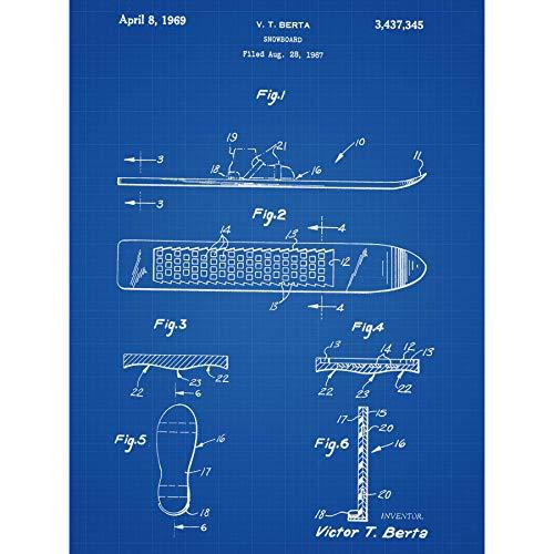 Berta Snowboard Sport Spelletjes Winter 1969 Patent Plan Omlijst Muur Art Print