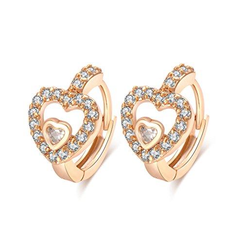 YAZILIND 18K oro plateado en forma de corazon pendientes CZ Zirconia cubico incrustado pendientes de aro mujeres elegantes joyas
