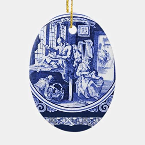 happygoluck1y Vintage Delft-Fliesen-Ornament, oval, Porzellan, Weihnachtsbaum-Dekoration, 2020 Quarantäne-Geschenke, Andenken, Ornamente, für Kinder