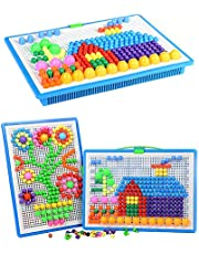 296 pcs Mushroom Nails Pegboard Educational Colourful Jigsaw Puzzle Building Blocks Bricks Creative DIY Mosaic Toys for Kids & Toddlers, Perfect Birthday for Girls Boys Age 3-8 years