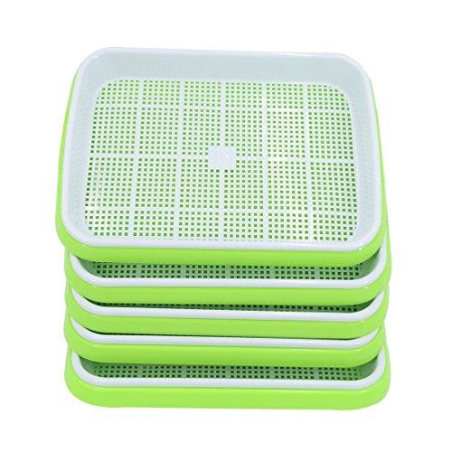 LVPY 5 Stücke Seed Sprouter tray bpa frei baumschule tablett für sämlinge weizen grassierer pflanzer hydroponics samen keimung tablett für garten home office(Grün)