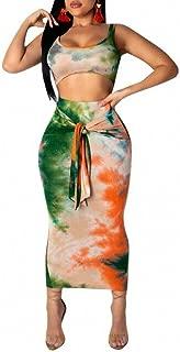 Womens Sexy Sleeveless Tie Dye Print Tank Crop Top Bodycon Tie Skirts Set 2 Piece Midi Dress Outfits