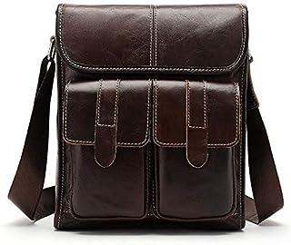 YXHM AU Men's Genuine Leather Retro-Style Male One-Shoulder Bag (Color : Coffee)