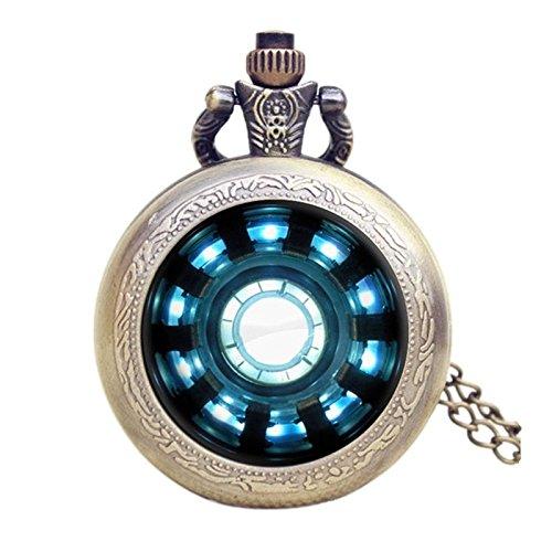 Reloj de bolsillo con diseño de Reactor Arc de Iron Man, efecto bronce envejecido, retro, movimiento de cuarzo, con cadena de 80 cm, ideal para hombres