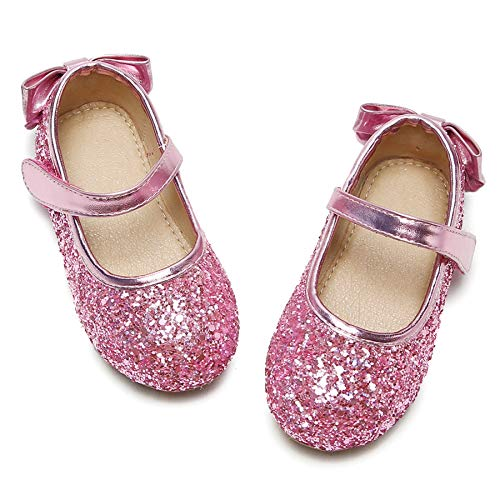 Felix & Flora Toddler Little Girl Gold Mary Jane Dress Shoes - Ballet Flats for Girl Party School Shoes(Pink,9 Toddler
