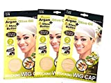 Quitt Nude Stocking Wig Cap Organic Argan Olive Oil & Shea Butter 3PK Contains 2 Caps each pack