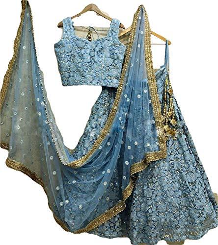 Semi-Stitched Embroidered Lehenga Choli Party Wear Lehenga Choli Traditional Wedding Wear Lehenga Choli 01 Sky Blue