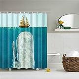 Fansu Duschvorhang Anti-Schimmel, 3D Drucken 100prozent Polyester Bad Vorhang Wasserdicht Anti-Bakteriell mit C-Form Kunststoff Haken mit 12 Ringe für Badzimmer (Wal,165x180cm)