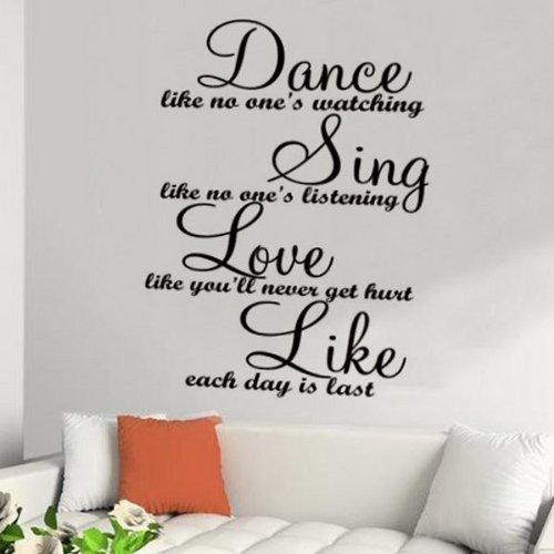 Wall sticker - Dance Sing Love Like ... Wallart mural Bedroom Lounge Kitchen -LARGE -SIZE 90cm x 60cm -Brown by Windsor Designers