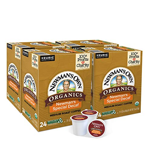 Newman's Own Organics Special Blend Decaf, Single-Serve Keurig K-Cup Pods, Medium Roast Coffee, 24 Count - Pack of 4