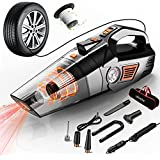 Uleete Car Vacuum, 4 in 1 Best Portable Car Vacuum Cleaner with Air Compressor Pump, DC 12V Tire Inflator for Car, High Power Handheld Car Vacuum with LED Light, Wet/Dry Vacuum Cleaner, 14.8FT Cord