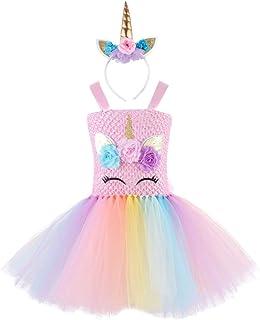 FENICAL Tutu Dress Unicorn Toddler Rainbow Tulle Dress Costume Outfit Princess Skirt Headband Set for Kids Baby Girls