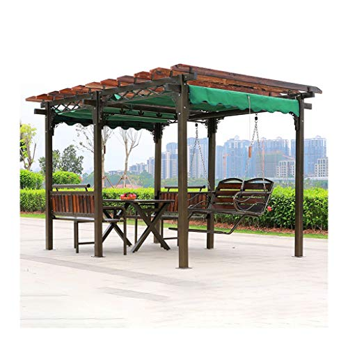 HLZY Garden Furniture Gazebo Gazebos for Patios, Outdoor Pavilion Villa Courtyard Garden Gazebo Wooden Grape Rack, with Swing Chair and Desk for Garden, Patio, Lawns, Parties Outdoor Canopy