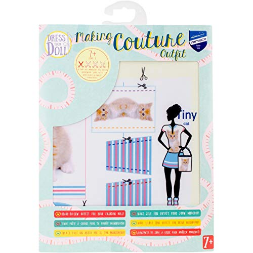 Vervaco Kit Making Couture Outfit Tiny Cat , Multicolore , 31 x 24 x 1 cm