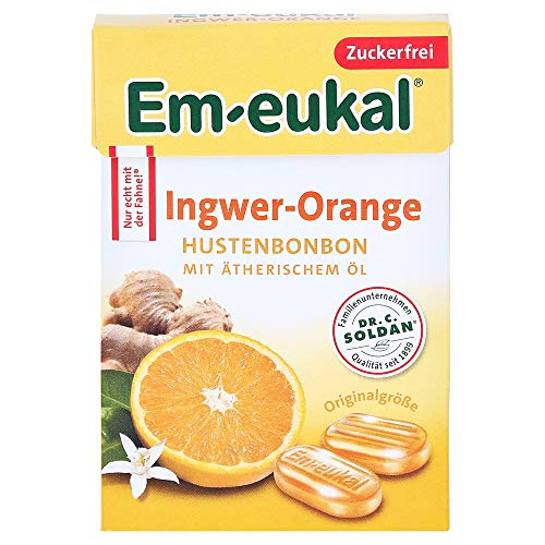 EM EUKAL Bonbons Ingwer Orange zuckerfrei Box