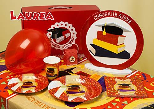 Visy Kit Decorazioni Idee Addobbi Set Laurea Divertente Festa Ragazzi Piatti Tovaglioli Tovaglia Bicchieri Party Graduation Day 101pz