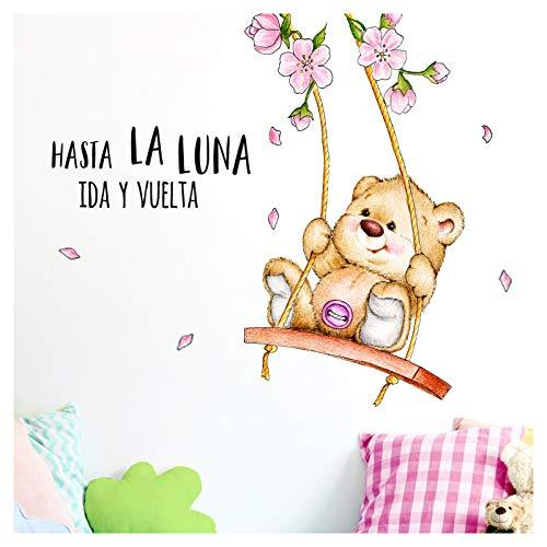 Little Deco muursticker Hasta La Luna & Beer op schommel I (BxH) 96 x 80 cm I kinderkamer babykamer sticker wandsticker stickers DL254
