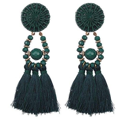 YAZILIND Schmuck westlich übertriebene Art Art und Weisetroddelkorn-hängende Bolzen ohrringe für Frauen (Grün)