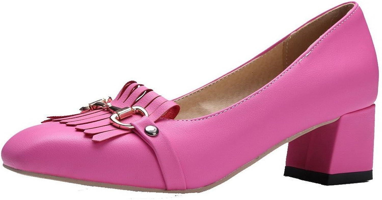 AllhqFashion Women's Solid Microfibre Kitten-Heels Closed Toe Court shoes