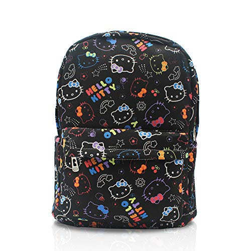 Finex Hello Kitty Black Canvas Cartoon Canvas Casual Daypack with 15 in Laptop Storage Compartment