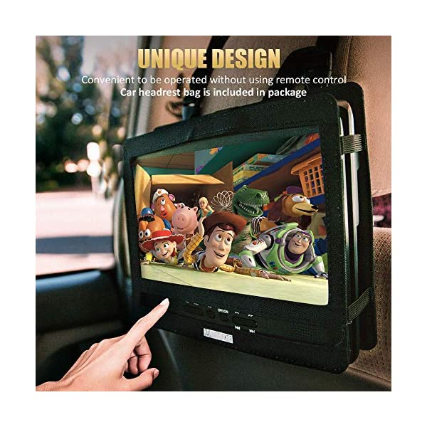 "Portable DVD Player with 5 Hrs Rechargeable Battery, Unique Design for Dual Use Purpose, 10.1"" HD Swivel Screen, Car Headrest Case, Remote Control, Car Charger, USB/SD Card Reader"