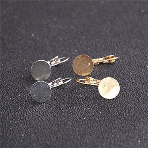 WANM 4 Uds 12mm Chapado en Dos ColoresPalanca Francesa Base del Pendiente en Blanco Componentes del Pendiente en Blanco Que se Ajustan a los hallazgos del Pendiente de la joyería