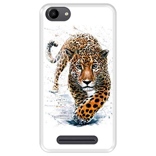 Hapdey silikon Hülle für [ Wiko Jerry - Lenny 3 - K-Kool ] Design [ Jaguar - Abbildung ] Transparenz Flexibles TPU