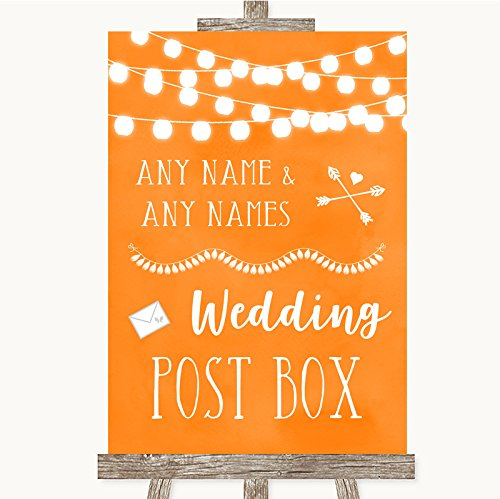 Bruidsbord Poster Print Oranje Aquarel Lights Card Post Box kan volledig worden aangepast elke tekst of kleur - Perfect Venue Decoratie (A4) Medium