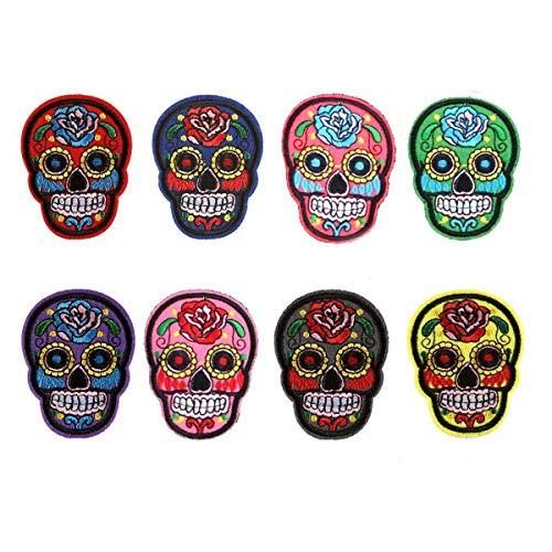 Hinter Totenkopf-Aufnäher Set mit Totenkopf-Abzeichen, mexikanischer Sugar Skull Bestickt zum Aufbügeln für Jeans, Taschen, Weste, Jacken, Kunst und Handwerk 8 Stück